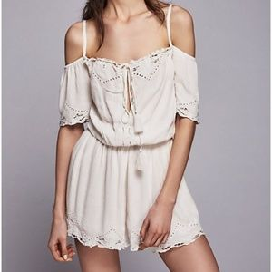 Free People Ivory White Embroidered Romance Romper
